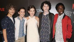 "PHOTO: Gaten Matarazzo, Noah Schnapp, Millie Bobby Brown, Finn Wolfhard and Caleb McLaughlin attend the ""Stranger Things"" FYC event on June 6, 2017, in Beverly Hills, Calif."