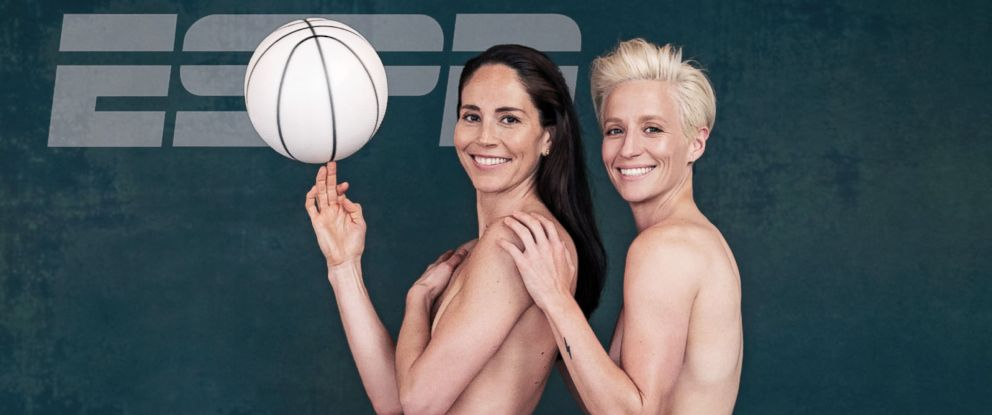 PHOTO: WNBA star Sue Bird and her girlfriend, professional soccer player Megan Rapinoe, are the first lesbian couple to pose for ESPN The Magazines body issue.