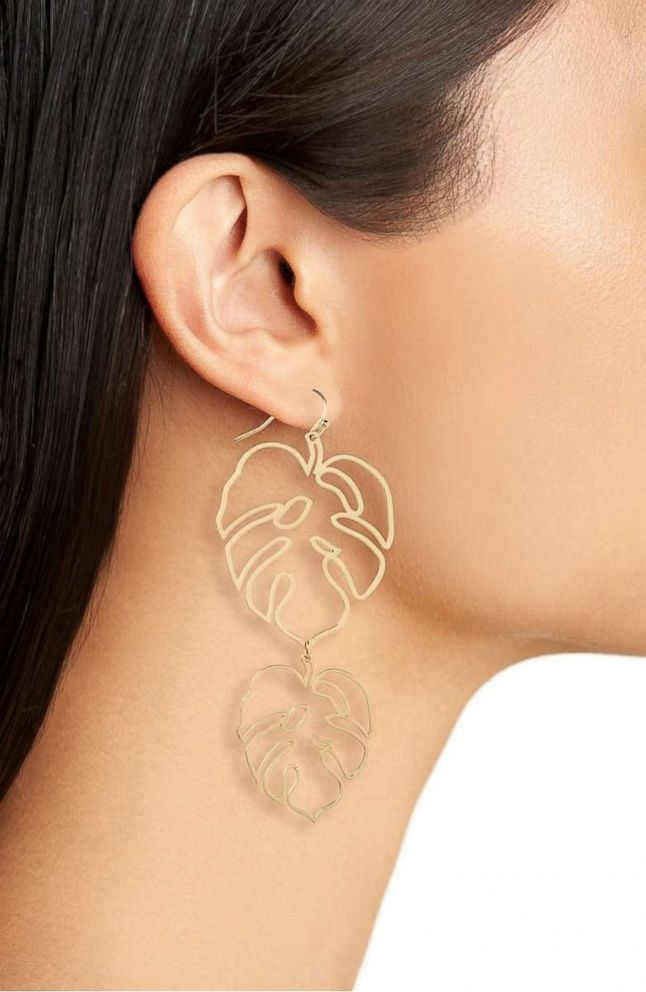 PHOTO: Turn over a new leaf with statement earrings. Style Hint: You can get away with oversized earrings when the silhouette is delicate. Added bonus, this cut-out design is lightweight and easy to wear.