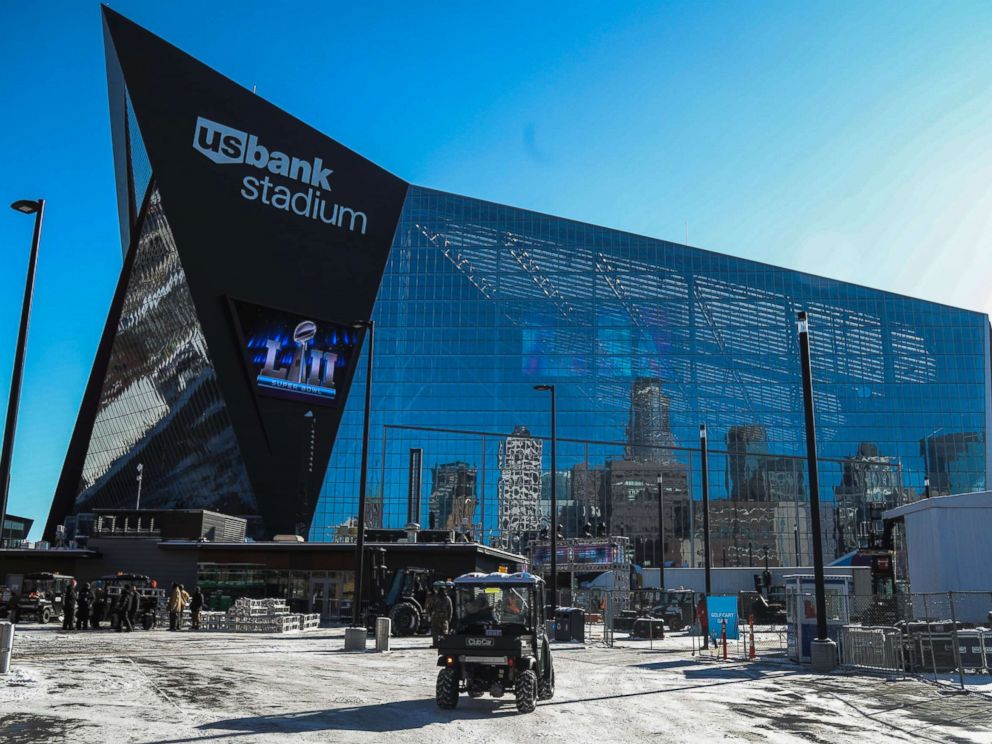 PHOTO: Preparations for Super Bowl LII continue around US Bank Stadium in Minneapolis, Minnesota, Jan. 31, 2018.