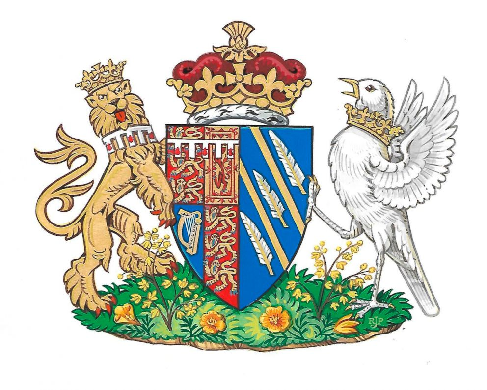 PHOTO: The newly created coat of arms of Meghan Duchess of Sussex. Mehgan Markle and Prince Harry married on May 19, and are now known as The Duke and Duchess of Sussex.