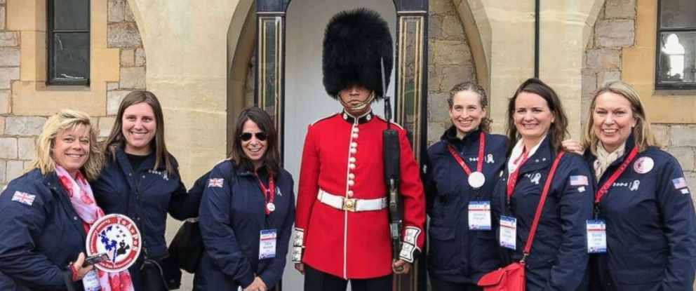 PHOTO: Diana Roday Hosford, wearing sunglasses, poses for a photo in London with other members from TAPS.