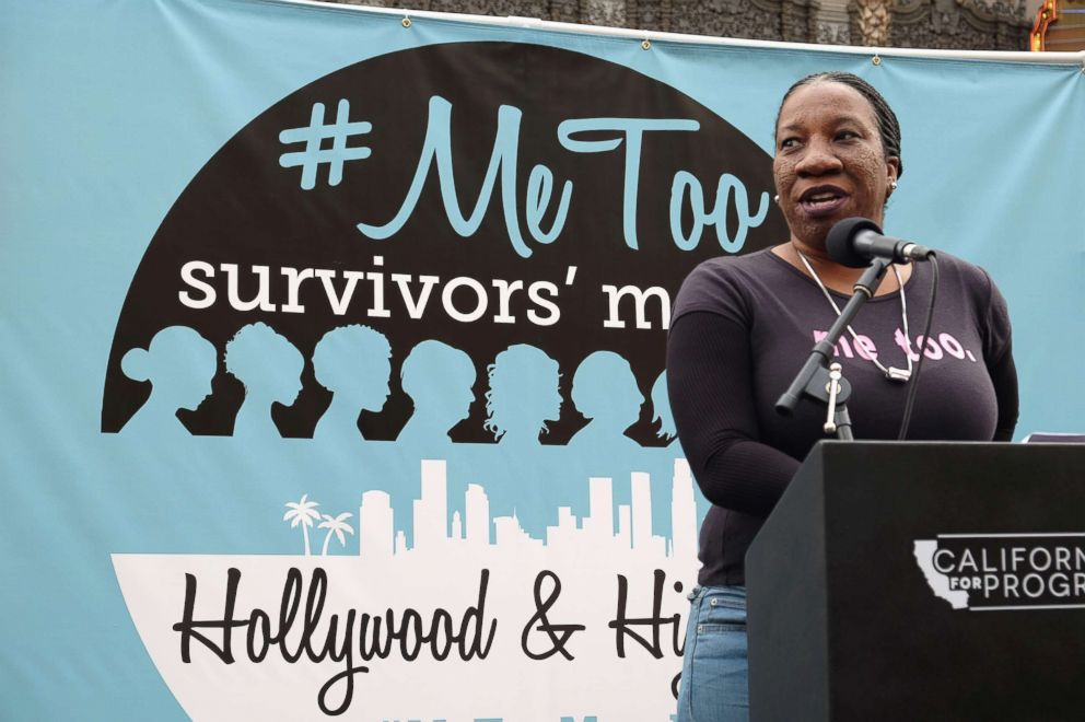 PHOTO: #MeToo campaign founder Tarana Burke speaks at the #MeToo Survivors March & Rally, Nov. 12, 2017 in Hollywood, Calif.