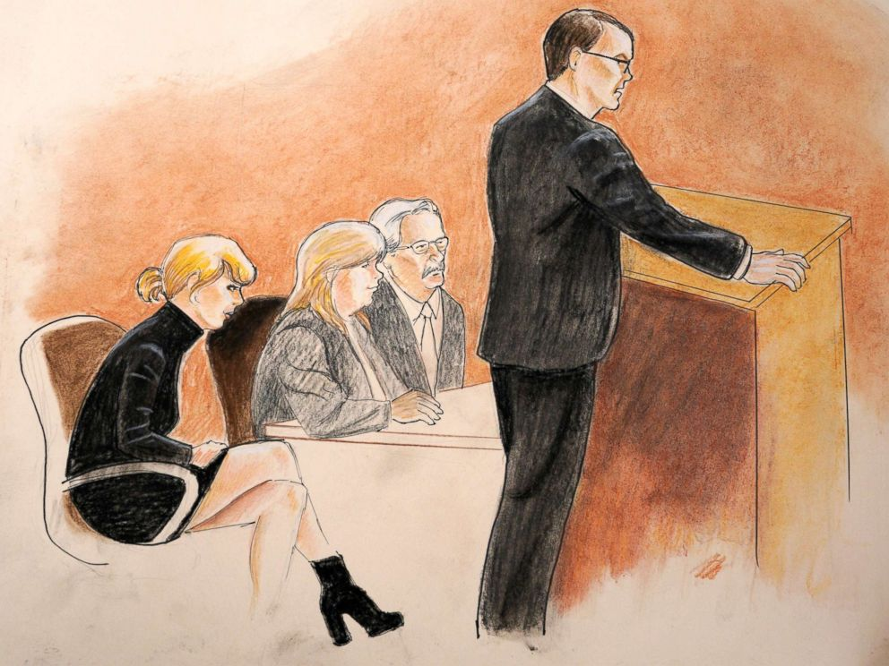 PHOTO: Taylor Swift, her mother, Andrea, and attorney Jesse Schaudies listen to closing arguments in Denver Federal Court in Denver, Aug. 14, 2017.