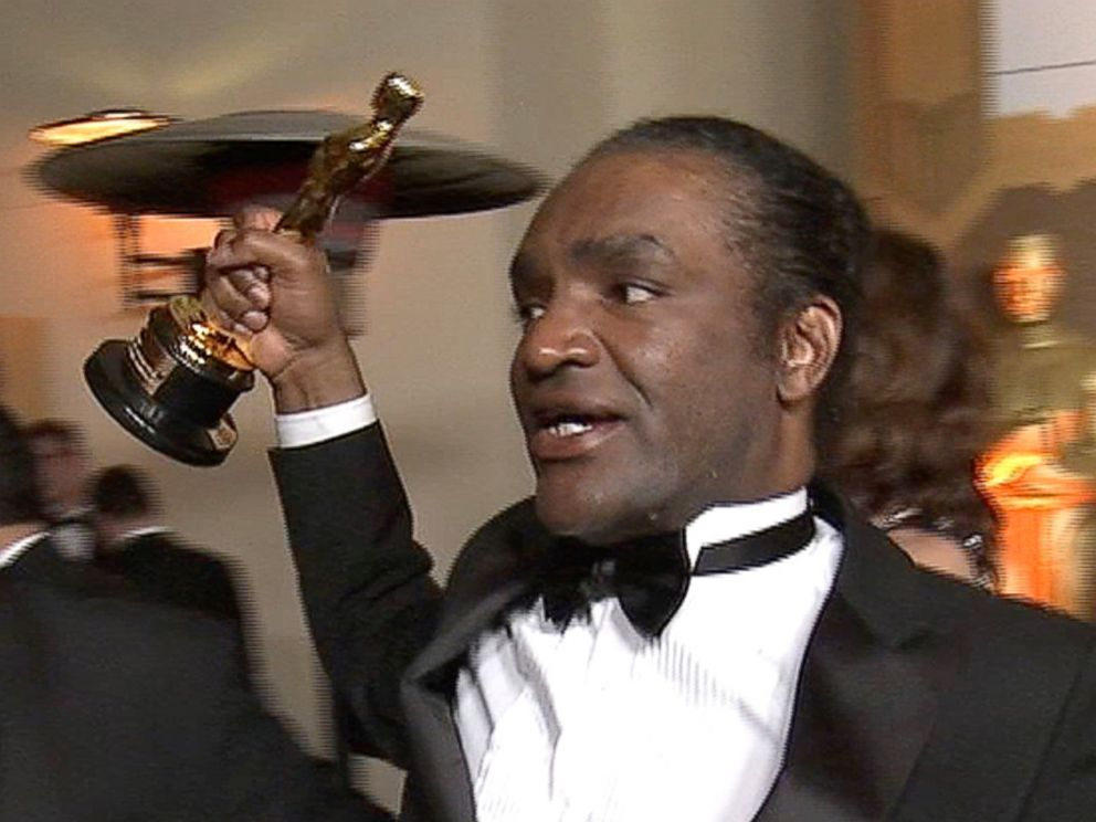 PHOTO: Terry Bryant is seen holding an Oscar statue at the Governors Ball party in a still image from Reuters video in Hollywood, Calif., March 4, 2018.