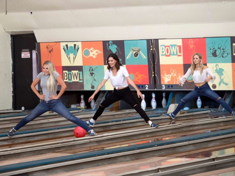 PHOTO: During a competitive day of bowling, Maquel, Rebecca and Kendall compete for the win for a private after-party with Arie, on The Bachelor, Jan. 29, 2018, on The ABC Television Network.