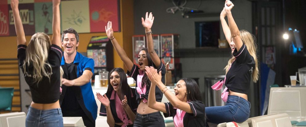 """PHOTO: Arie Luyendyk Jr., Marikh, Seinne and Ashley during a competitive day of bowling with the winner going to a private after-party, on """"The Bachelor,"""" Jan. 29, 2018, on The ABC Television Network."""