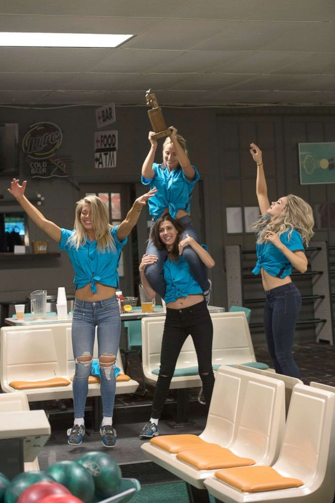 PHOTO: The bacholrettes, Krystal, Rebecca, Maquel and Jenna after a competitive day of bowling with the winner going to a private after-party, on The Bachelor, Jan. 29, 2018, on The ABC Television Network.