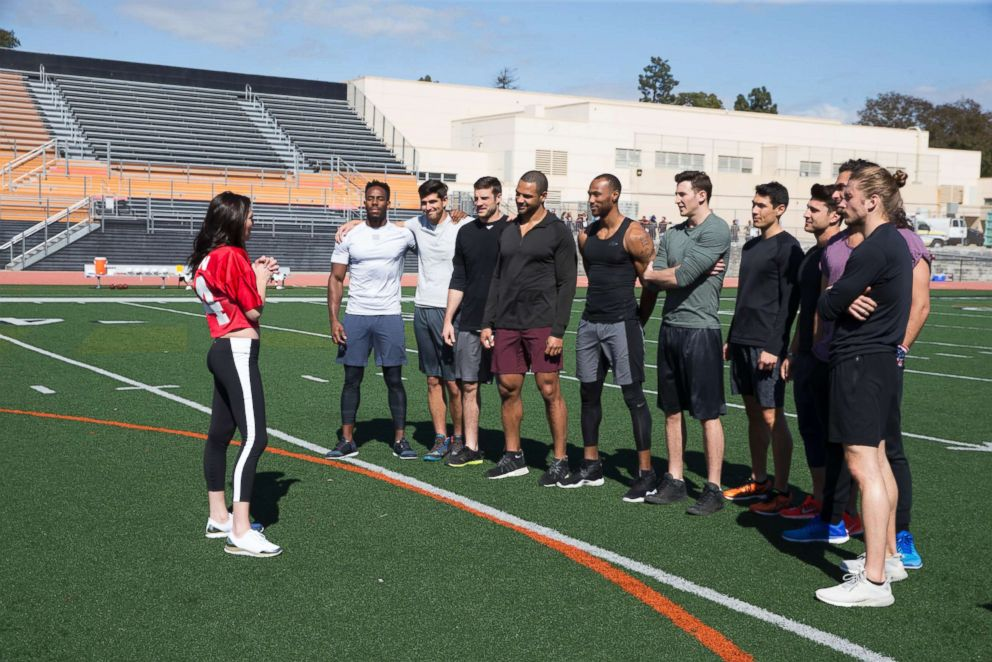 PHOTO: The men meet Becca at a football field on The Bachelorette.