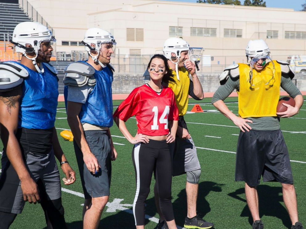 PHOTO: The men meet Becca at a football field on The Bachelorette. 8:00-10:01 p.m. EDT), on The ABC Television Network.