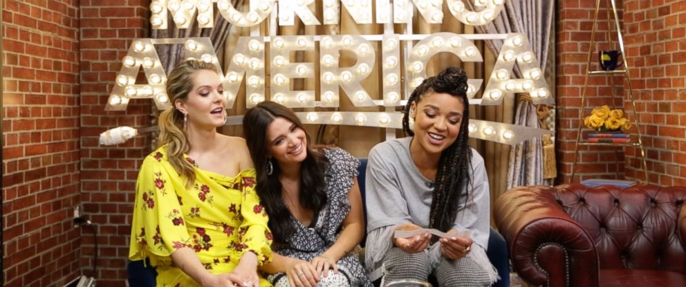"PHOTO: Katie Stevens, Meghann Fahy and Aisha Dee of Freeforms ""The Bold Type"" played an exciting game of ""Whose Headline?"" on ""Good Morning America,"" June 12, 2018."