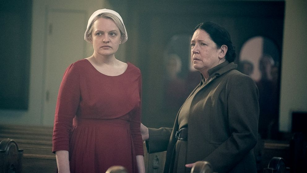 "Elisabeth Moss and Ann Dowd appear in a scene from ""The Handmaid's Tale."""