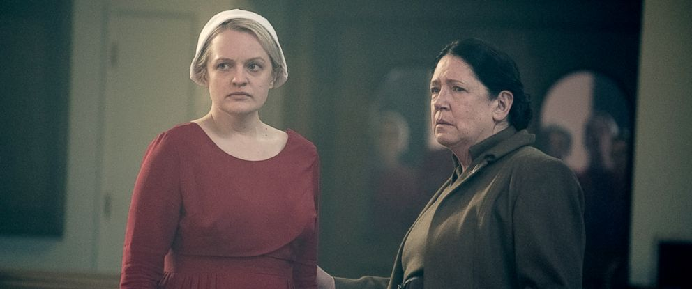 "PHOTO: Elisabeth Moss and Ann Dowd appear in a scene from ""The Handmaids Tale."""