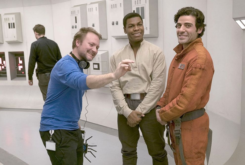PHOTO: Director Rian Johnson with Oscar Isaac and John Boyega on the set of Star Wars: Episode VIII - The Last Jedi, 2017.