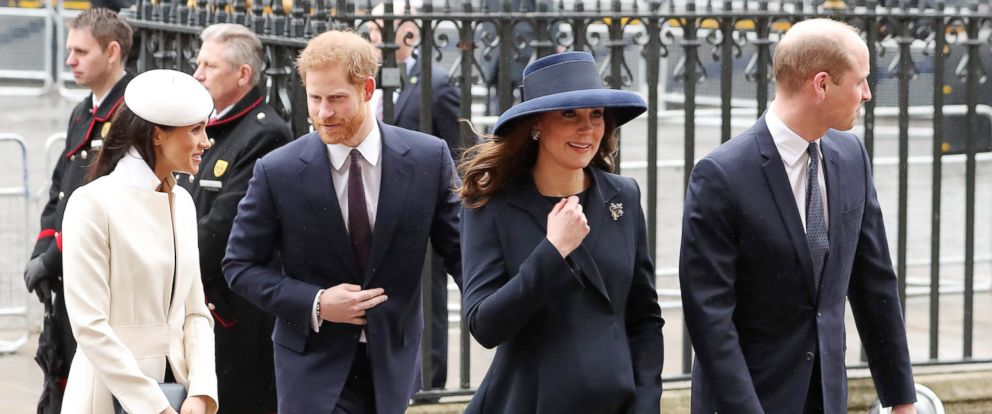 PHOTO: Catherine, Duchess of Cambridge, and her husband Prince William, Duke of Cambridge arrive with Britains Prince Harry and his fiancee Meghan Markle to attend a Commonwealth Day Service at Westminster Abbey in central London, on March 12, 2018.
