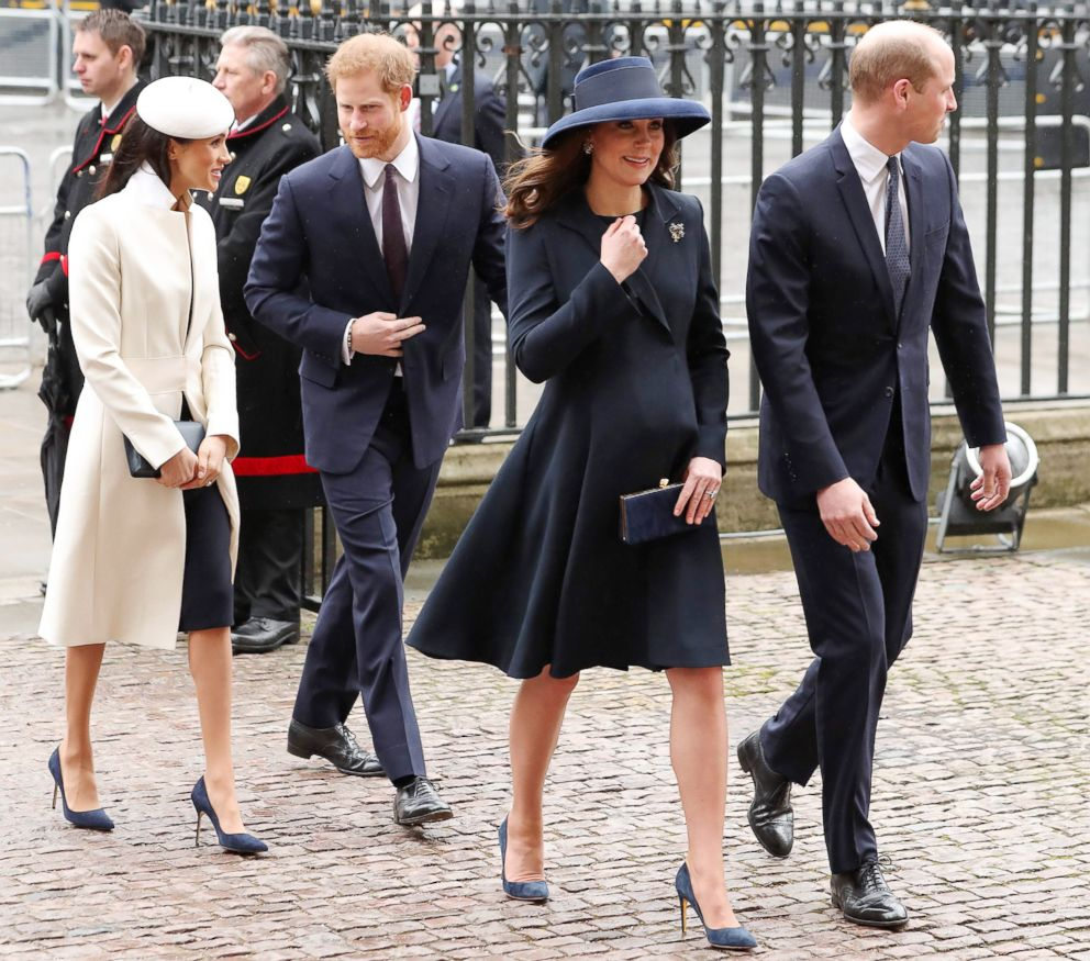 PHOTO: From left, Meghan Markle, Prince Harry, Duchess Catherine and husband Prince William attend a Commonwealth Day Service at Westminster Abbey in central London, on March 12, 2018.