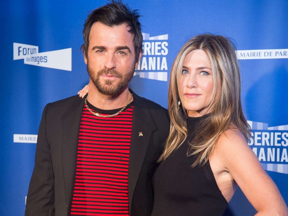 PHOTO: Justin Theroux and Jennifer Aniston attend the Festival Serie Mania Opening Night, at Le Grand Rex, April 13, 2017, in Paris.