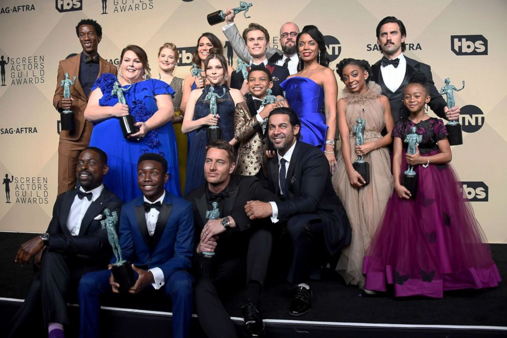 PHOTO: The cast of This Is Us win for outstanding performance by an ensemble in a drama series during the 24th annual Screen Actors Guild awards at the Shrine Auditorium, Jan. 21, 2018, in Los Angeles.
