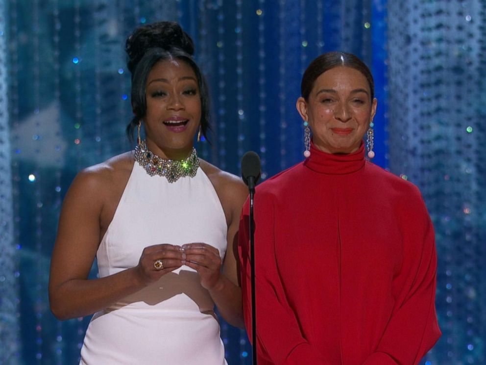 PHOTO: Tiffany Haddish and Maya Rudolph present at the Oscars in Hollywood, March 4, 2018.