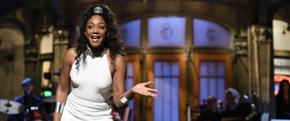 "PHOTO: Host Tiffany Haddish during the Opening Monologue on ""Saturday Night Live,"" Nov. 11, 2017."