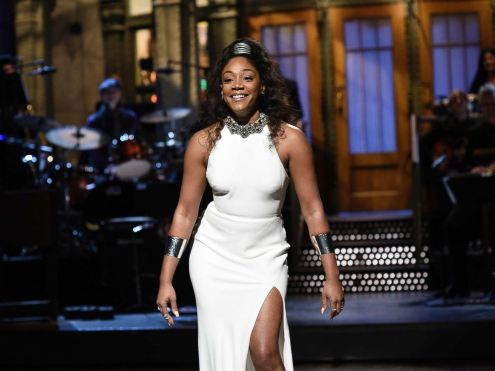 PHOTO: Host Tiffany Haddish during the Opening Monologue in Studio 8H on Saturday night Live, Nov. 11, 2017.