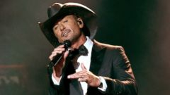 PHOTO: Recording artist Tim McGraw performs onstage during the 52nd Academy of Country Music Awards at T-Mobile Arena, April 2, 2017 in Las Vegas.