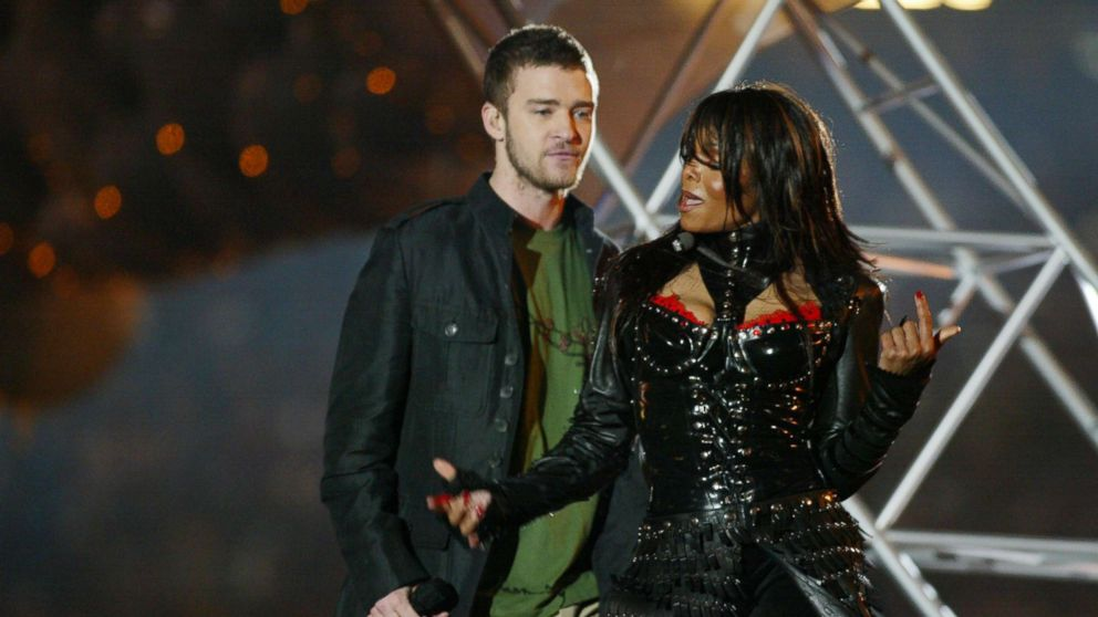 Justin Timberlake and Janet Jackson perform during the half-time show at Super Bowl XXXVIII, Feb. 1, 2004, in Houston.