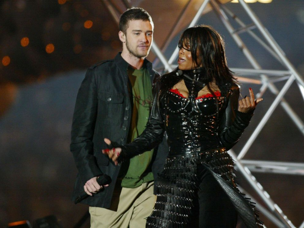 PHOTO: Justin Timberlake and Janet Jackson perform during the half-time show at Super Bowl XXXVIII, Feb. 1, 2004, in Houston.