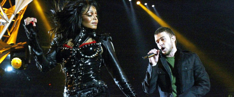 PHOTO: Janet Jackson and Justin Timberlake on stage at the half-time show at Super Bowl XXXVIII at Reliant Stadium, Feb. 1, 2004, in Houston.