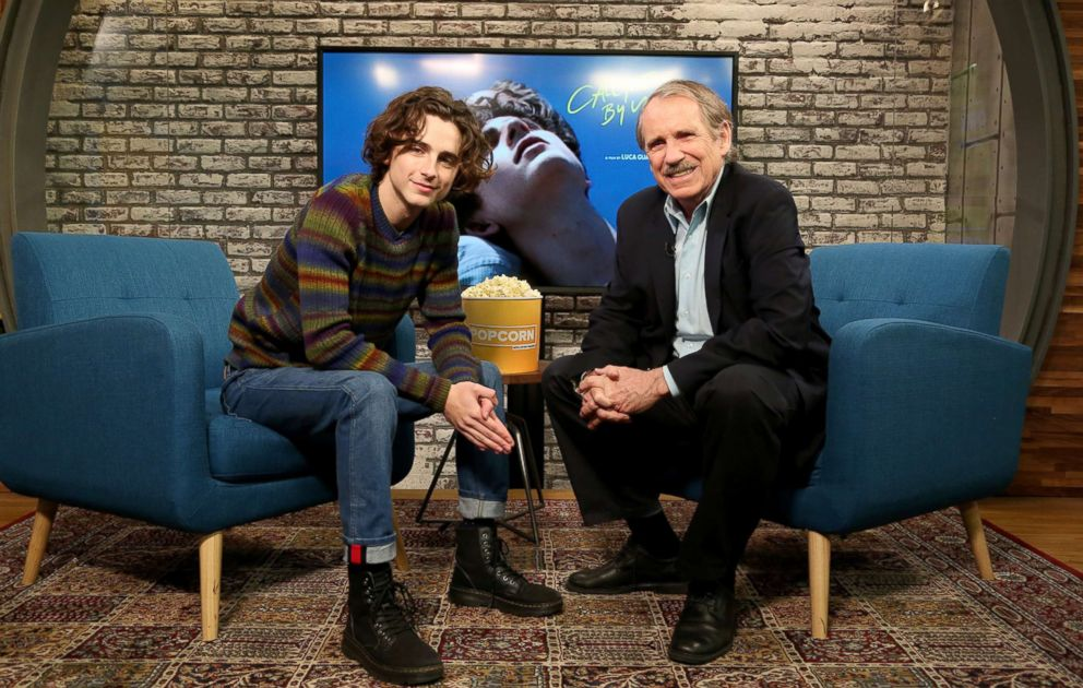 PHOTO: Oscar-nominated actor Timothee Chalamet, who stars in Call Me By Your Name and Lady Bird, speaks to Peter Travers on ABC News Popcorn With Peter Travers.