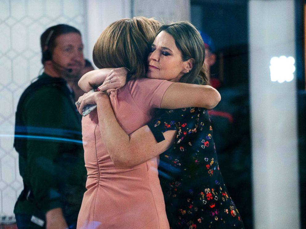 PHOTO: Co-anchors Hoda Kotb, left, and Savannah Guthrie embrace on the set of the Today show, Nov. 29, 2017, in New York, after NBC News fired host Matt Lauer.