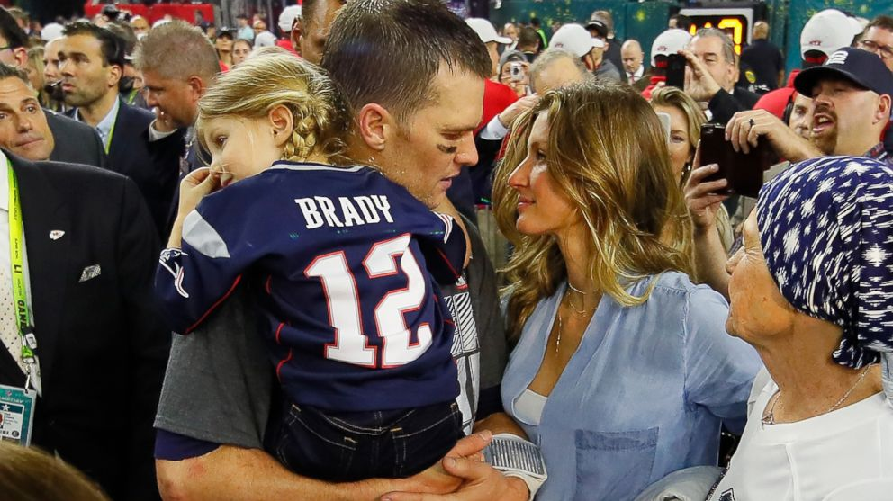Tom Brady of the New England Patriots celebrates with wife Gisele Bundchen and daughter Vivian Brady after defeating the Atlanta Falcons during Super Bowl 51 at NRG Stadium on Feb. 5, 2017 in Houston.
