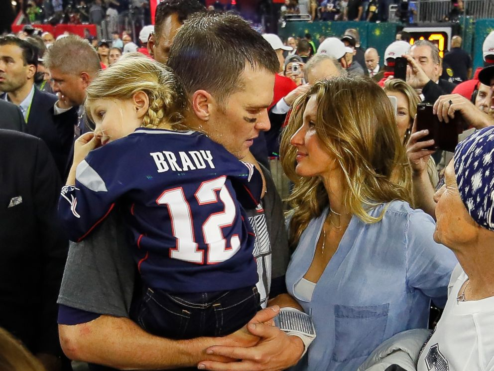 PHOTO: Tom Brady of the New England Patriots celebrates with wife Gisele Bundchen and daughter Vivian Brady after defeating the Atlanta Falcons during Super Bowl 51 at NRG Stadium on Feb. 5, 2017 in Houston.
