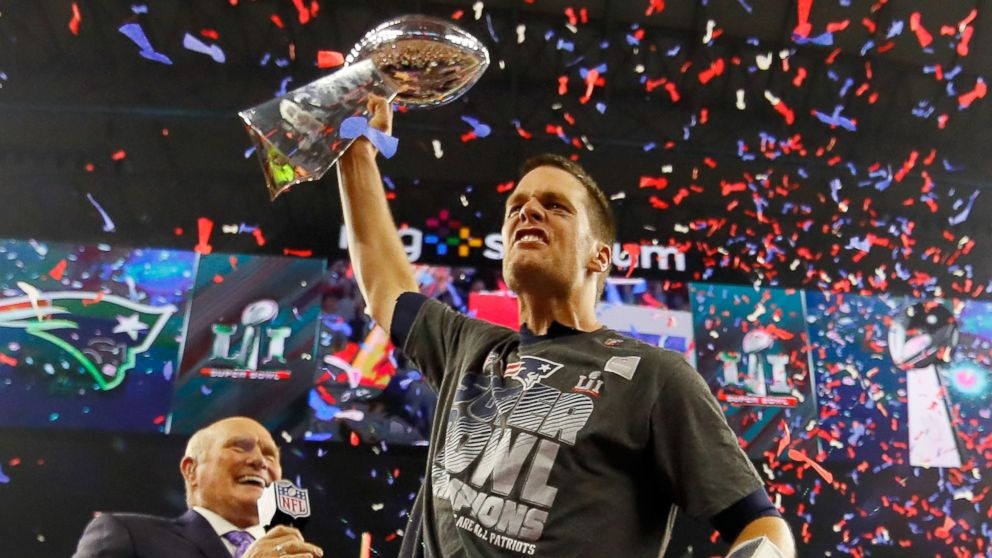 Tom Brady of the New England Patriots celebrates with the Vince Lombardi Trophy after defeating the Atlanta Falcons during Super Bowl 51 at NRG Stadium on Feb. 5, 2017 in Houston, Texas.
