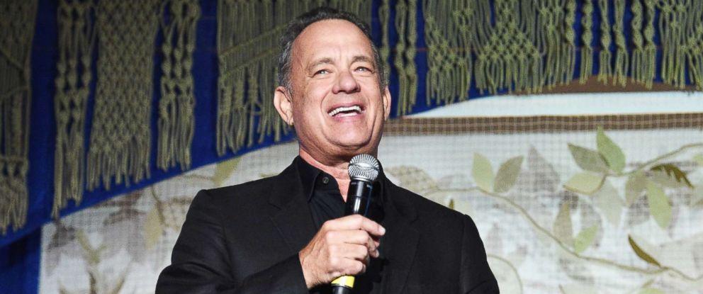 PHOTO: Tom Hanks speaks on May 23, 2017, in New York.