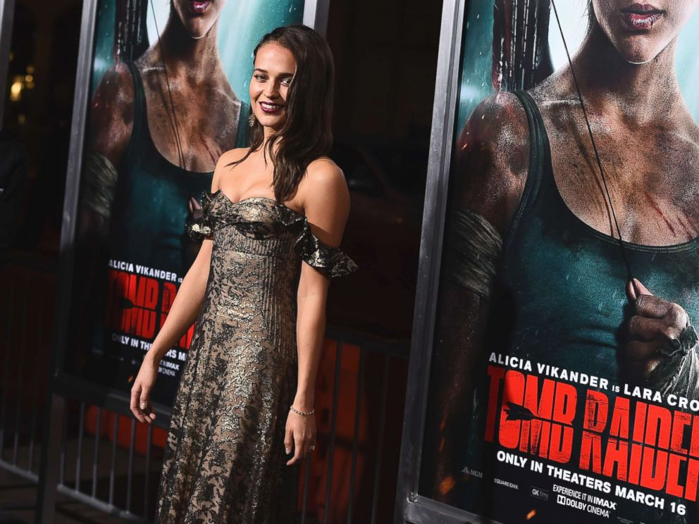PHOTO: Alicia Vikander arrives at the U.S. premiere of Tomb Raider at the TCL Chinese Theatre on March 12, 2018, in Los Angeles.
