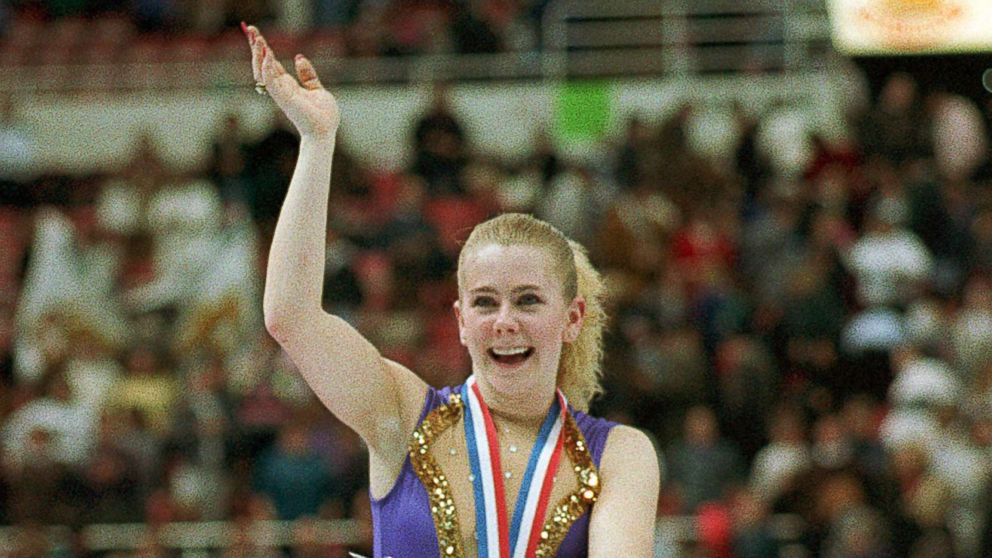 Tonya Harding of Portland, Ore., waves to the crowd after being presented awards for winning her second national championship during ceremonies in the U.S. Figure Skating Championships in Detroit, Mich., Jan. 8, 1994.