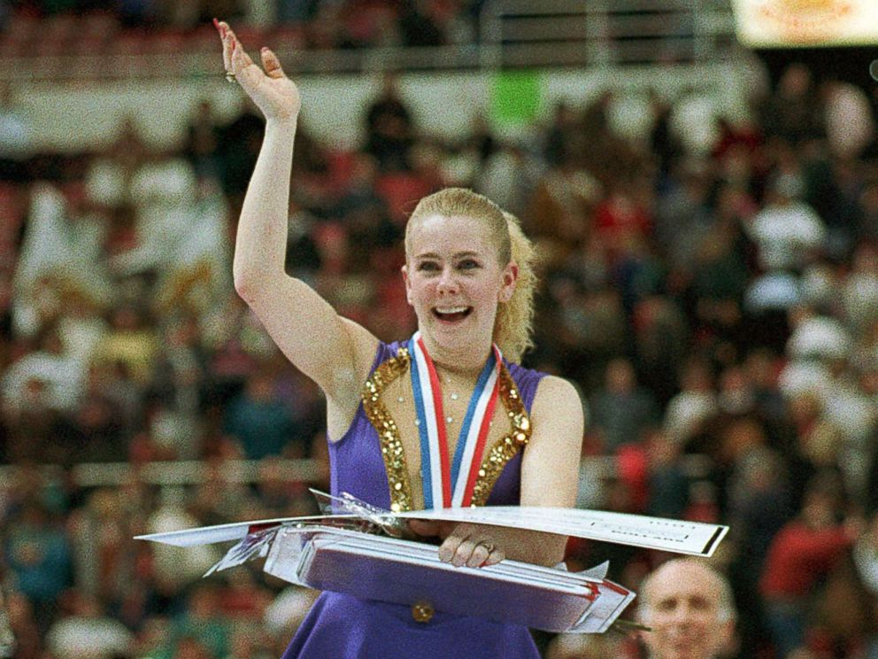 PHOTO: Tonya Harding of Portland, Ore., waves to the crowd after being presented awards for winning her second national championship during ceremonies in the U.S. Figure Skating Championships in Detroit, Mich., Jan. 8, 1994.