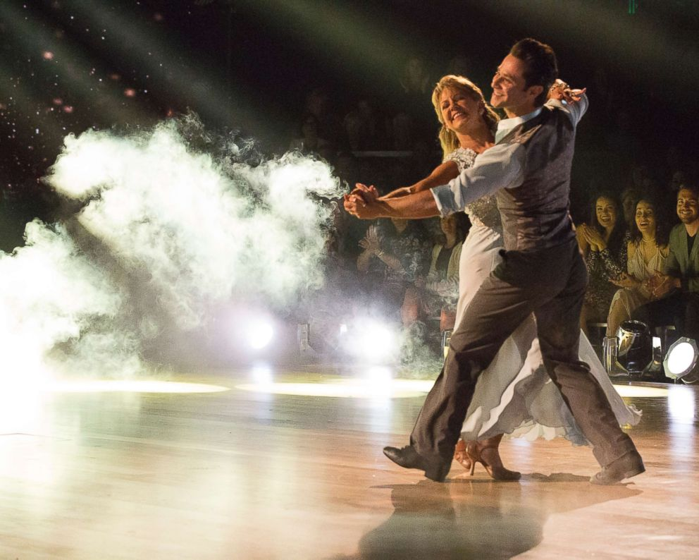 "Tonya Harding and Sasha Farber compete on ABC Television's ""Dancing with the Stars,"" April 30, 2018."