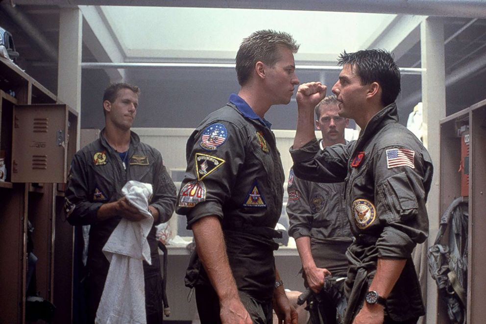 PHOTO: Tom Cruise, Val Kilmer, Anthony Edwards, and Rick Rossovich appear in a scene from Top Gun.