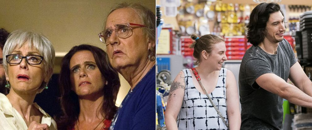 """PHOTO: Scenes from """"Transparent,"""" left, and HBOs """"Girls,"""" right."""