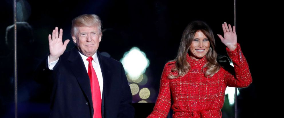 PHOTO: President Donald Trump and First Lady Melania Trump attend the National Christmas Tree Lighting and Pageant of Peace ceremony on the Ellipse near the White House in Washington, Nov. 30, 2017.