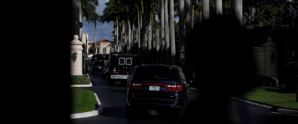 PHOTO: The motorcade of U.S. President Donald Trump arrives at Trump International Golf Club in West Palm Beach, Fla., Feb. 19, 2018.