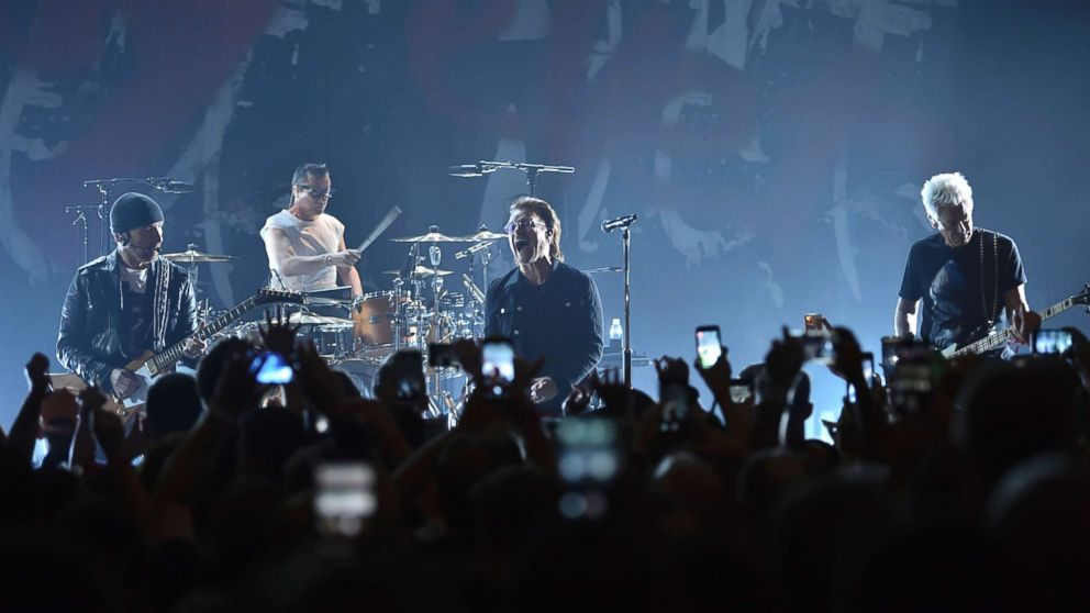 The Edge, Larry Mullen Jr., Bono and Adam Clayton of U2 perform during a concert at the Apollo Theater hosted by SiriusXM, June 11, 2018, in New York City.