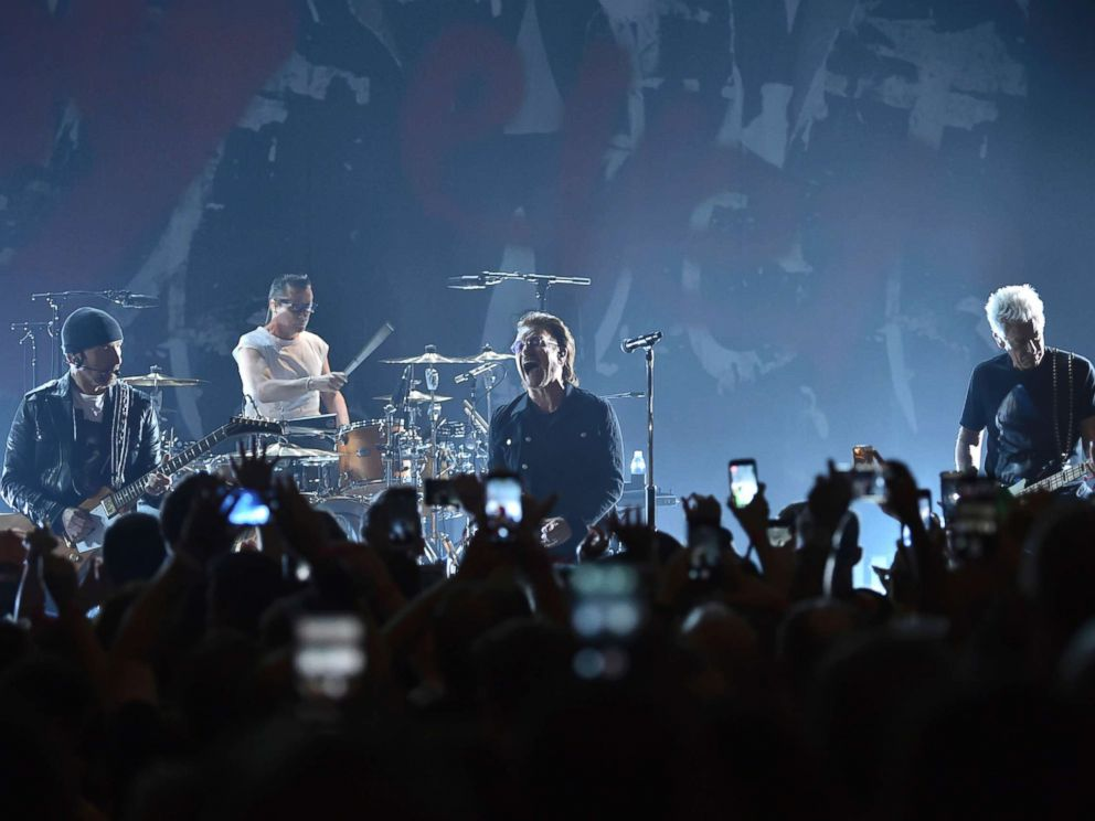 PHOTO: The Edge, Larry Mullen Jr., Bono and Adam Clayton of U2 perform during a concert at the Apollo Theater hosted by SiriusXM, June 11, 2018, in New York City.