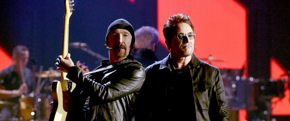 PHOTO: Recording artists The Edge, left, and Bono of U2 perform onstage at the 2016 iHeartRadio Music Festival at T-Mobile Arena, Sept. 23, 2016, in Las Vegas.