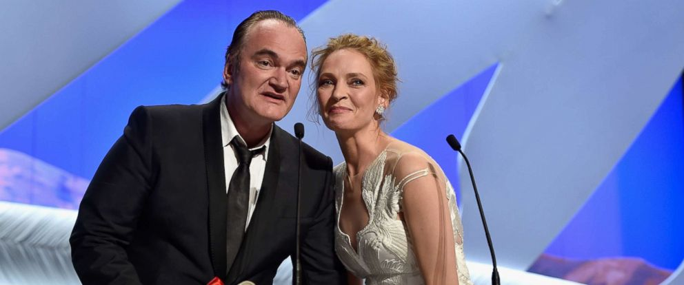 PHOTO: Director Quentin Tarantino and actress Uma Thurman appear onstage to give the Palme dOr award during the Closing Ceremony at the 67th Annual Cannes Film Festival, May 24, 2014 in Cannes, France.