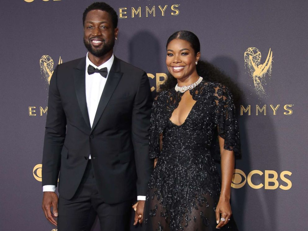 PHOTO: Dwyane Wade and Gabrielle Union arrive on the red carpet at the 69th Emmy Awards at the Microsoft Theater, Sept. 17, 2017, in Los Angeles.