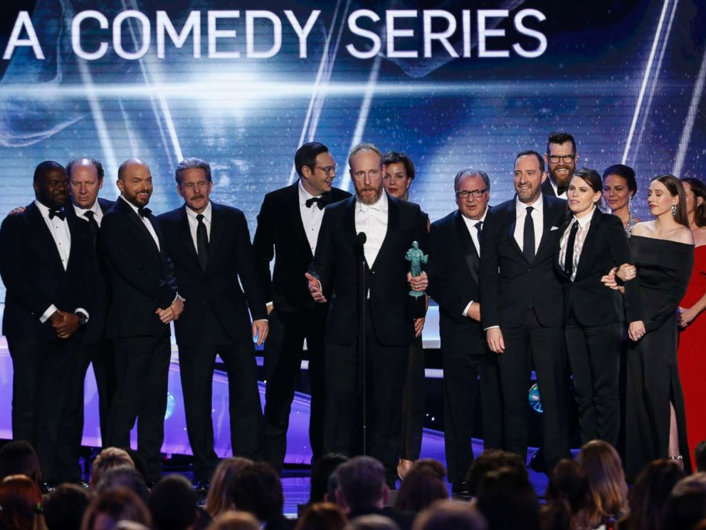 PHOTO: The cast of Veep celebrate after winning the award for Outstanding Performance by an Ensemble in a Comedy Series at the 24th Screen Actors Guild Awards in Los Angeles, Jan. 21, 2018.