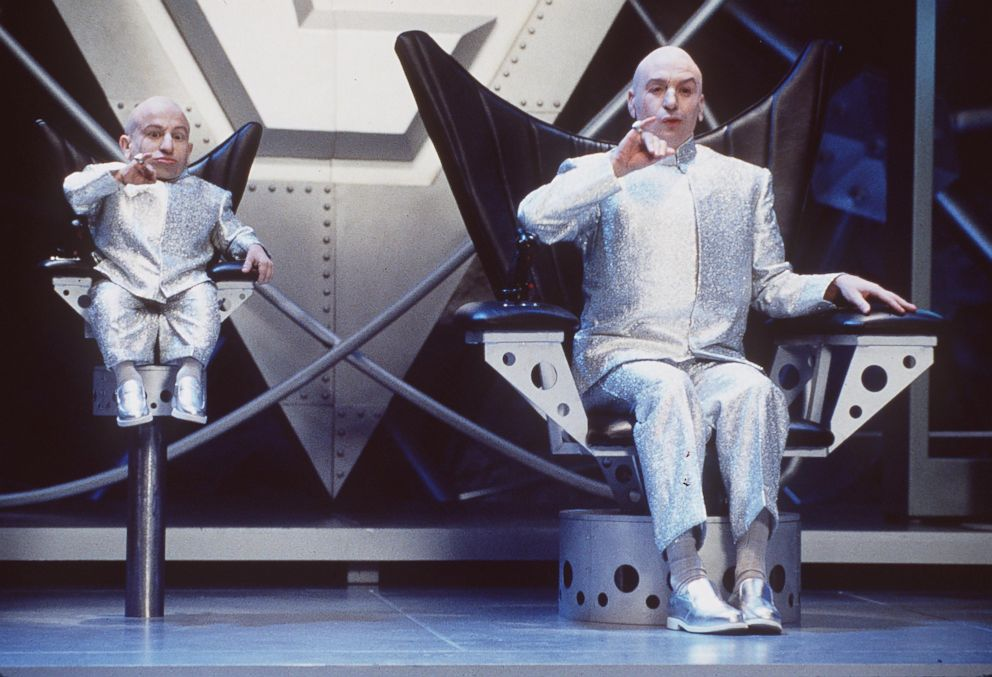 PHOTO: Verne Troyer and Mike Meyers appear in this film still from Austin Powers: The Spy Who Shagged Me, 1999.
